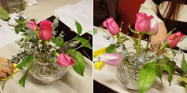 cách cắm hoa hồng trong bình thủy tinh thấp - hình ảnh 2