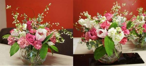 cách cắm hoa hồng trong bình thủy tinh thấp - hình ảnh 3